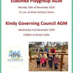 Eudunda Playgroup AGM – 16th Nov 2020