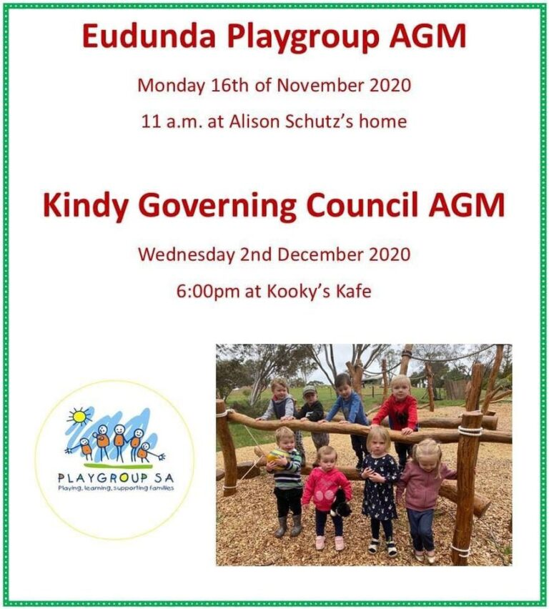 Eudunda Playgroup AGM – 16th Nov 2020 Reminder