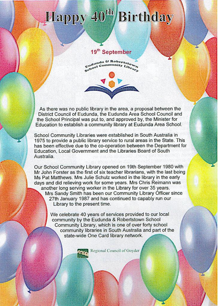 Eudunda & Robertstown School Community Library 40th Birthday 19th Sept 2020