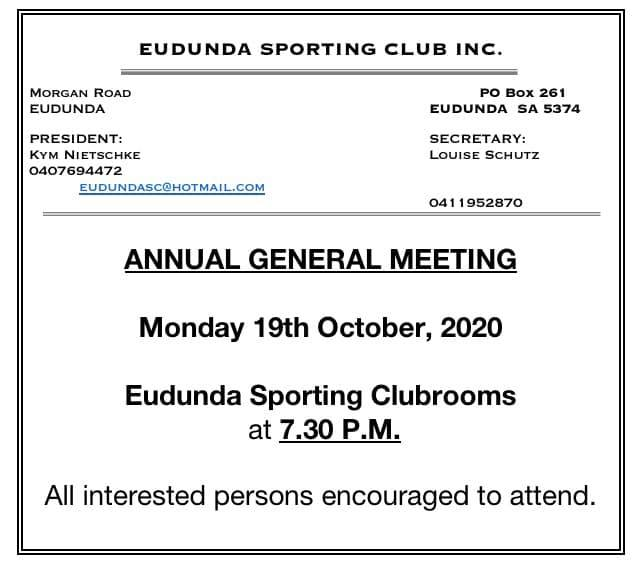 Eudunda Sporting Club Inc – AGM 19th Oct 2020