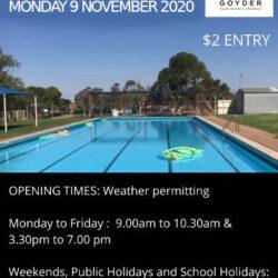 Eudunda Swimming Pool Swimming Season Opens Mon 9th Nov 2020
