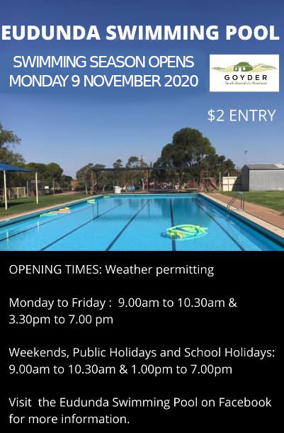 Eudunda Swimming Pool Swimming Season Opens Mon 9th Nov 2020