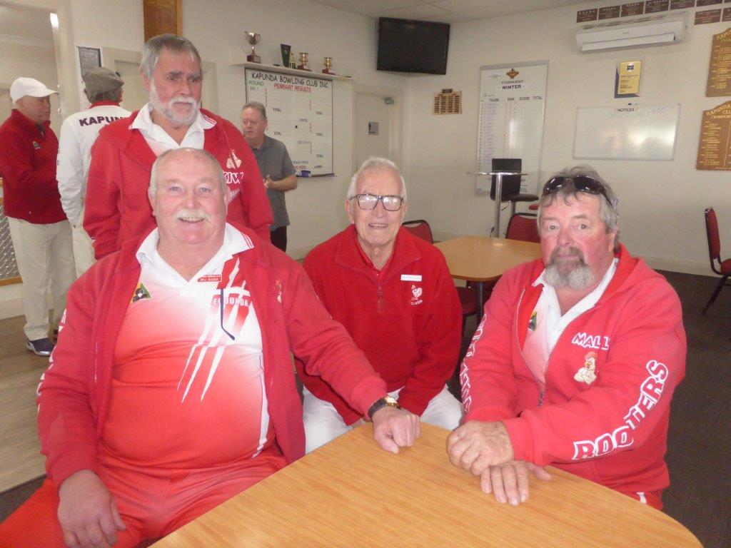 Gordon (Kiwi) Te Au (standing), Bill Mader, Bob Leditschke and Mally Schutz