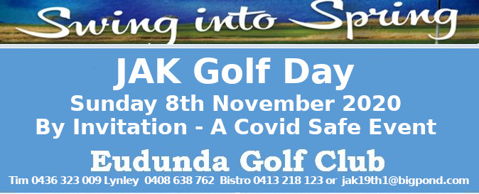 JAK Golf Day – THIS SUNDAY – 8th Nov 2020