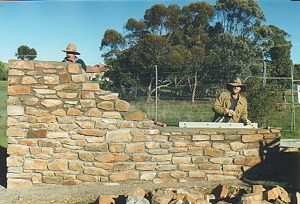 Jim & Digby building Gustav Wall