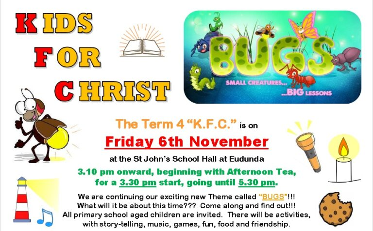 Kids For Christ (KFC) Term 4 – Fri 6th Nov 2020