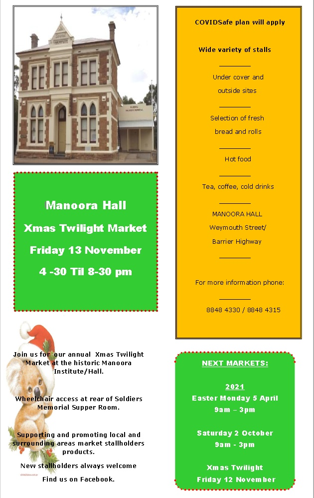 Manoora Hall – XMAS Twilight Market – Friday 13th Dec 2020