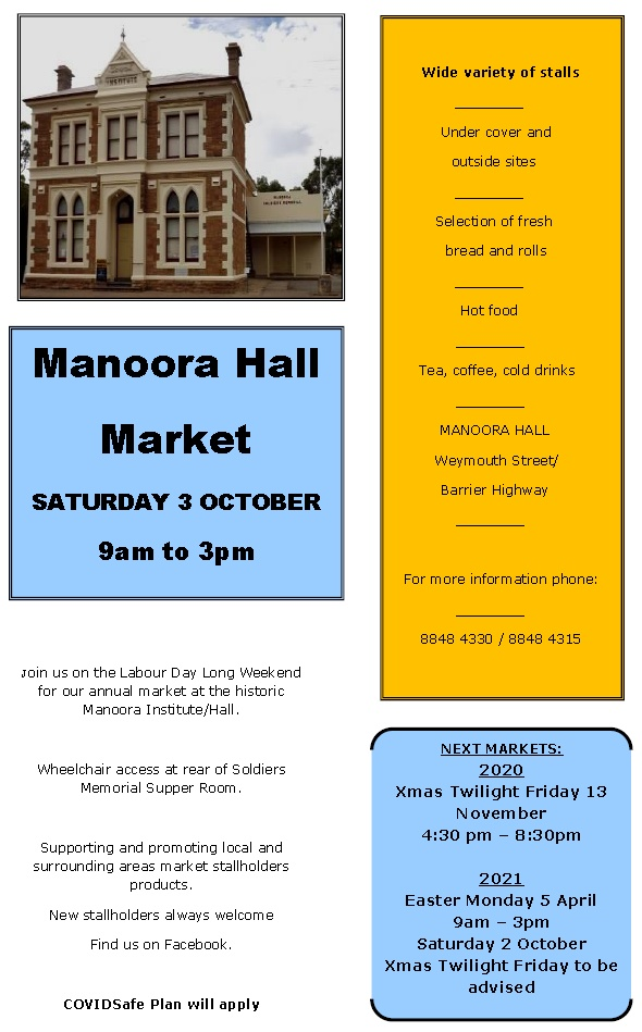 Manoora Hall Market – Saturday 3rd Oct 2020