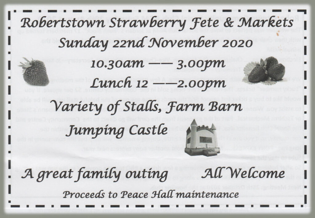 Robertstown Strawberry Fete & Markets 22nd Nov 2020