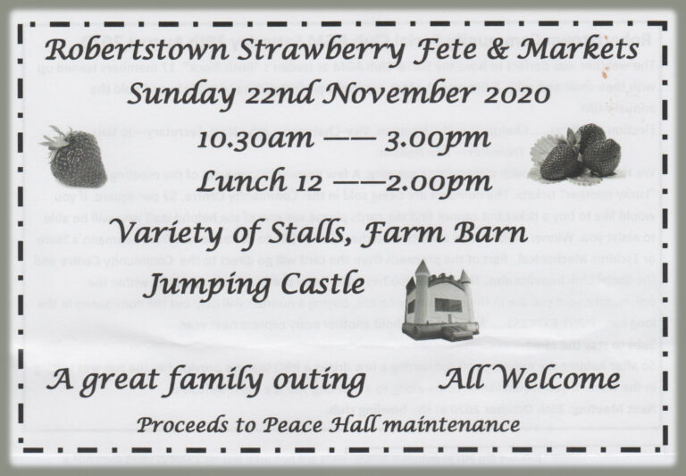 Early Notice – Robertstown Strawberry Fete & Twilight Market – 22nd Nov 2020