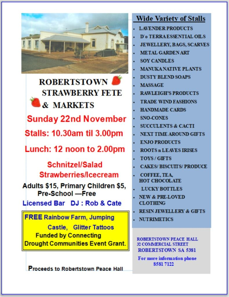Robertstown Strawberry Fete & Markets 22nd Nov 2020 - Poster