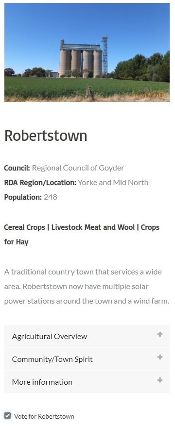 South Australian Agricultural Town of the Year - Robertstown Vote Slip 2020