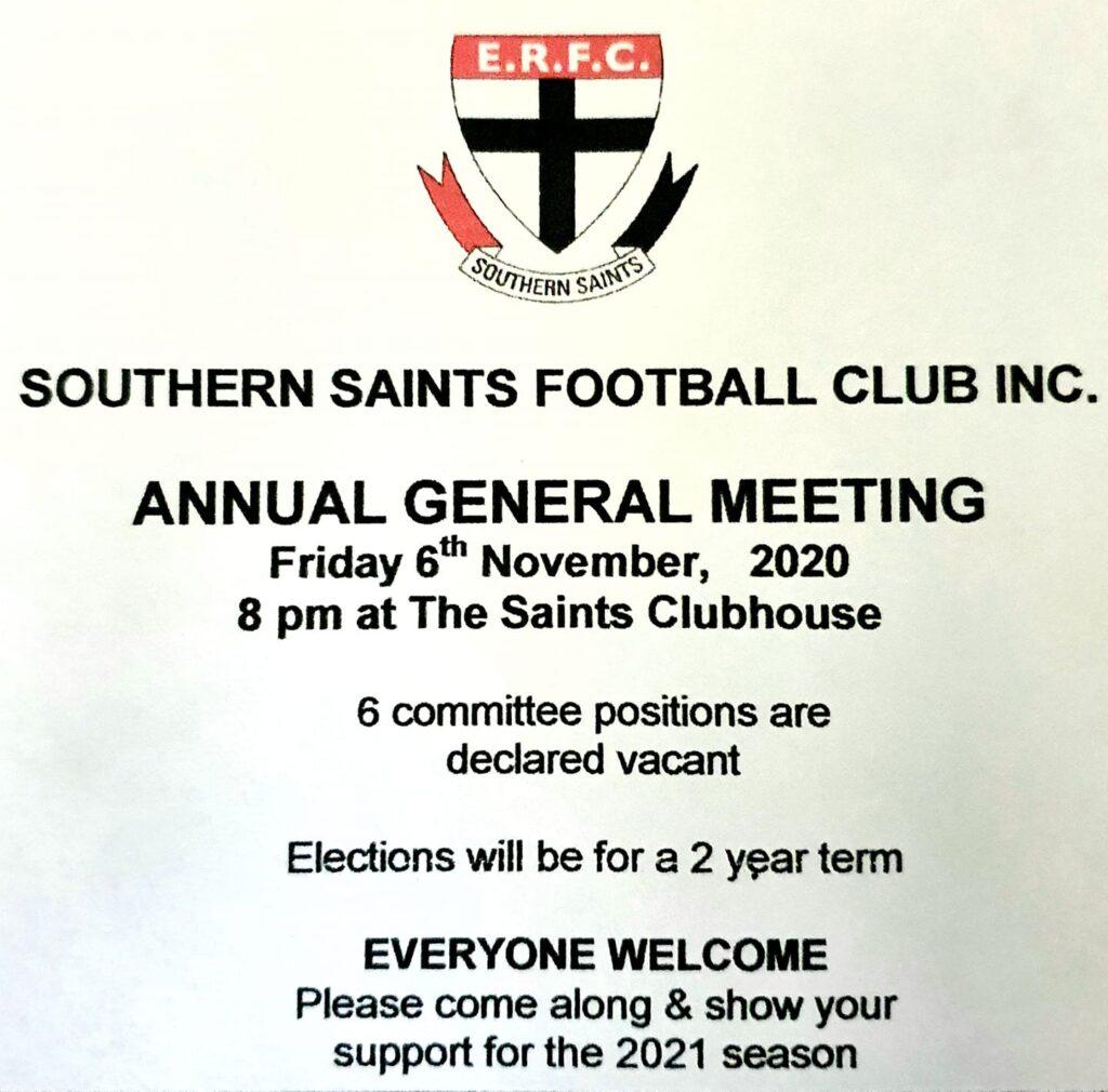 Southern Saints Football Club AGM - 6th Nov 2020