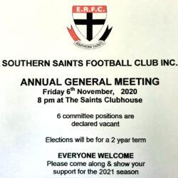 Southern Saints Football Club Inc AGM – 6th Nov 2020