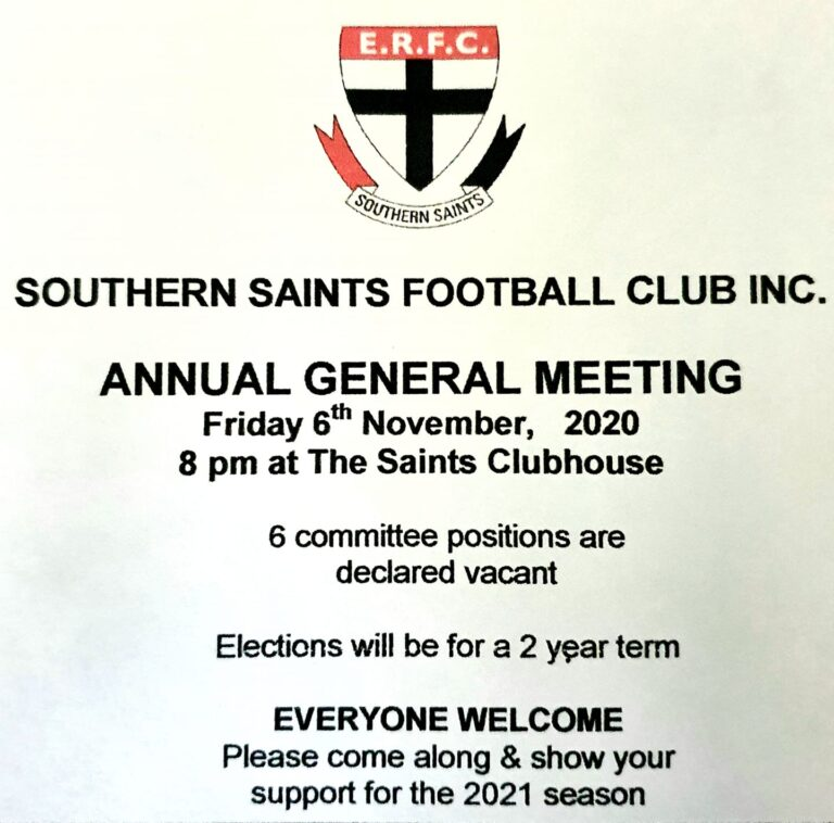 Southern Saints Football Club Inc AGM – 6th Nov 2020