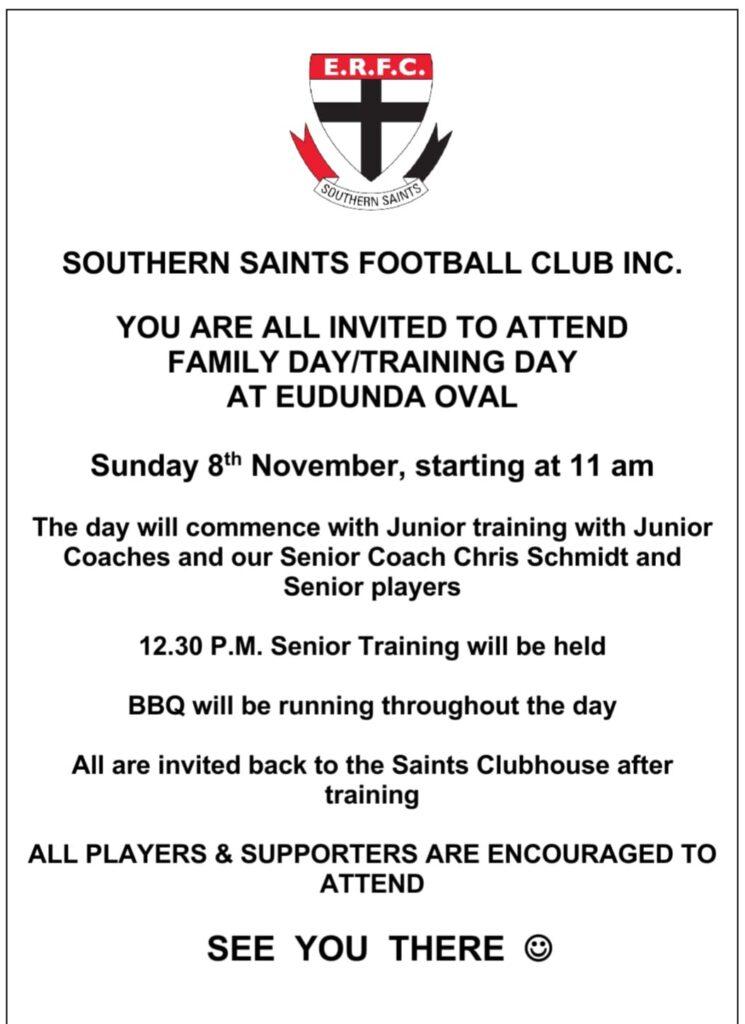 Southern Saints Football Club - Family Day & Training Day - 8th Nov 2020