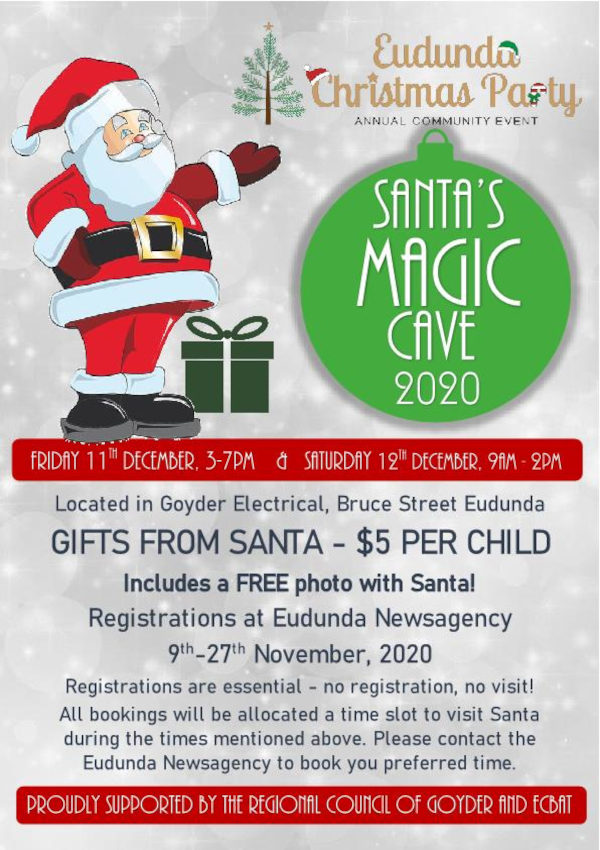 Only One Week Left To Register For Santa's Magic Cave 2020 at Eudunda