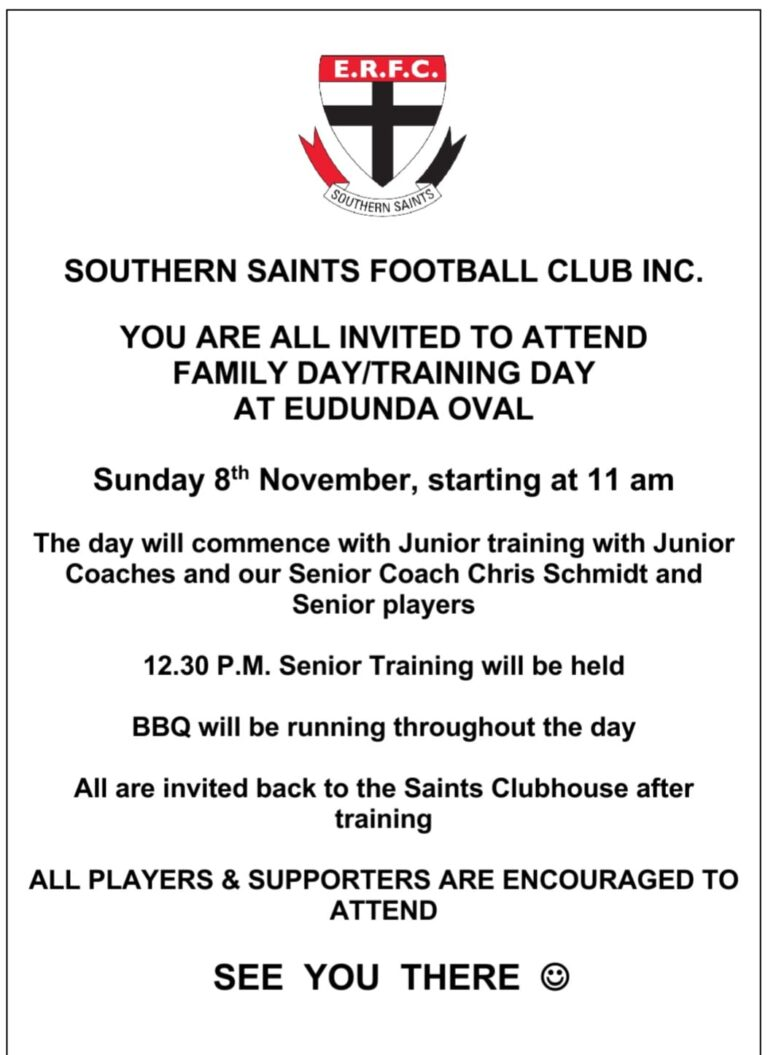 Southern Saints Football Club Family & Training Day – 8th Nov 2020