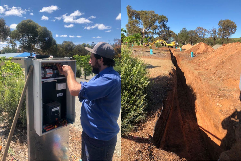 4 Extra Powered Sites - Jarred Schutz of Goyder Electrical Installing electrical & Deep Trench at the Eudunda Caravan Park