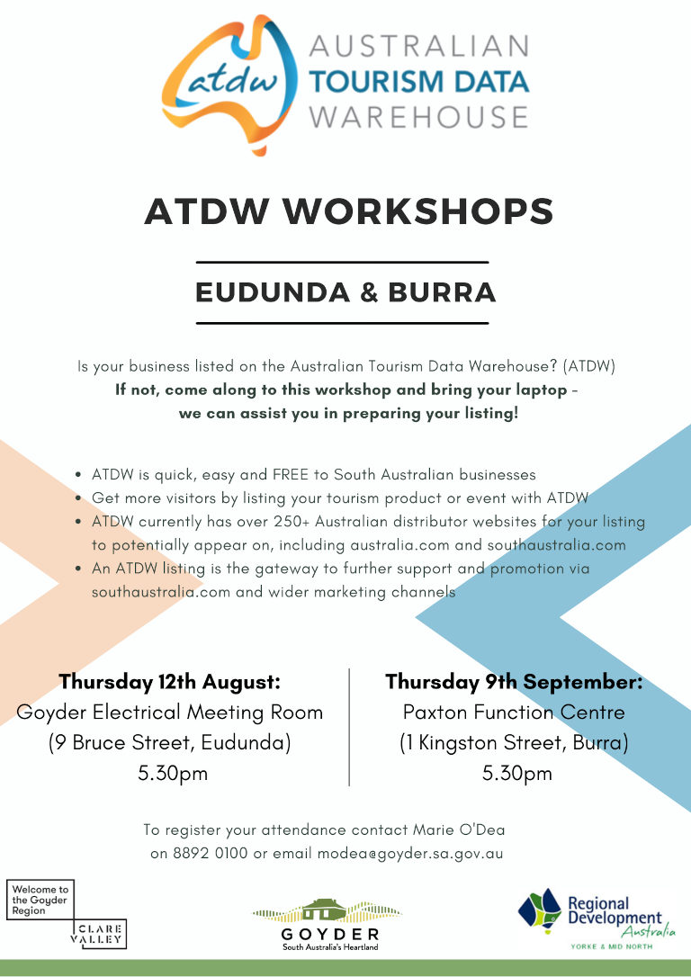 Is your business listed on the Australian Tourism Data Warehouse? FREE Workshop Eudunda 12th Aug 2021
