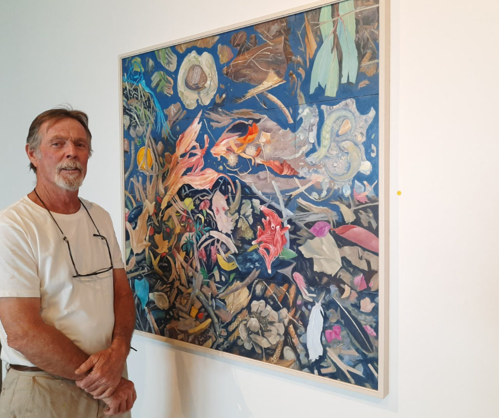 """Artist Peter McLachlan with """"My Back Yard"""" at the Casting Shadows exhibition - Goolwa"""