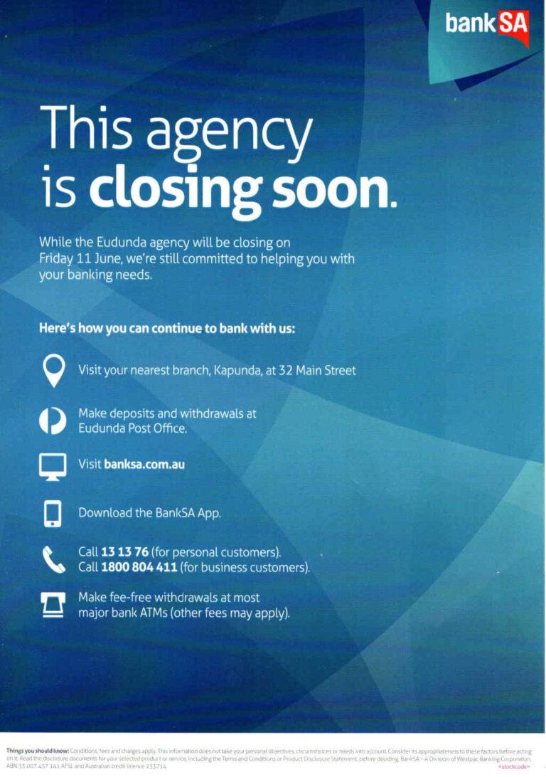 BankSA Eudunda Agency To Close on Friday 11th June 2021