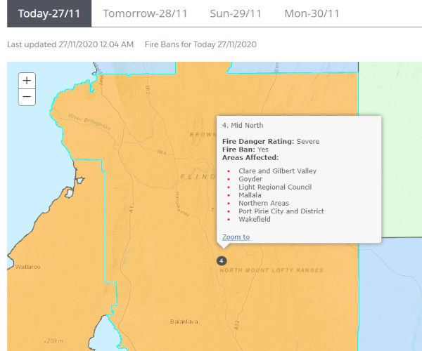 CFS SA - Severe Fire Danger Warning - Region 4 for 271120