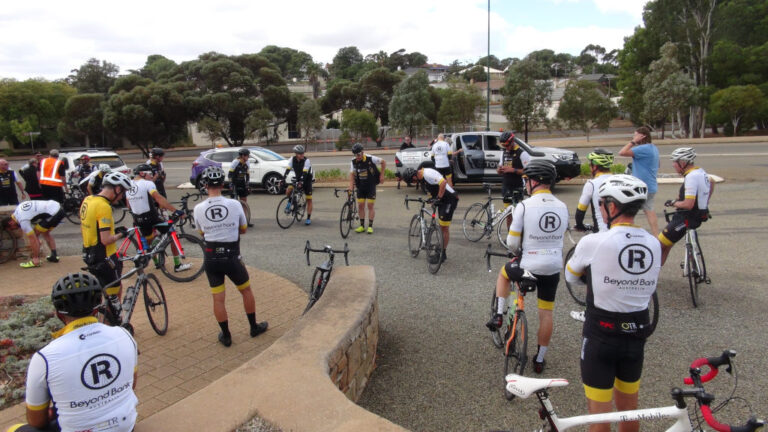 Fundraising Cyclists Pause in Eudunda Gardens For A Break on 1,000km Journey for 'Canteen'