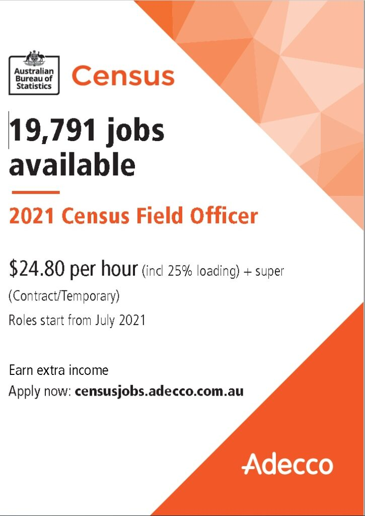 2021 Census Field Officer Jobs Poster - Aug 2021