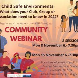 Child Safe Environments – Community Webinars 8th & 15th Nov 2021