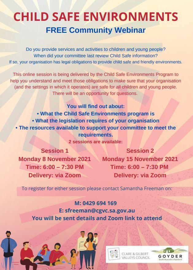 Child Safe Environments - Community Webinars 8th & 15th Nov 2021 - Poster