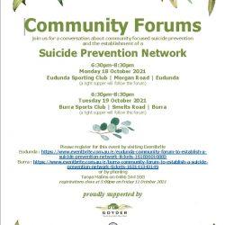 Community Focus On Suicide Prevention & New Network – Eudunda & Burra Community Forums