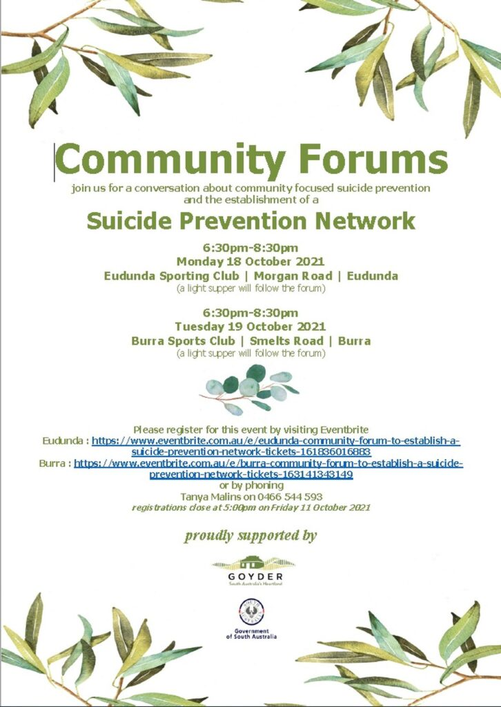 Community Forums - Suicide Prevention Network - Eudunda 18th Oct 2021