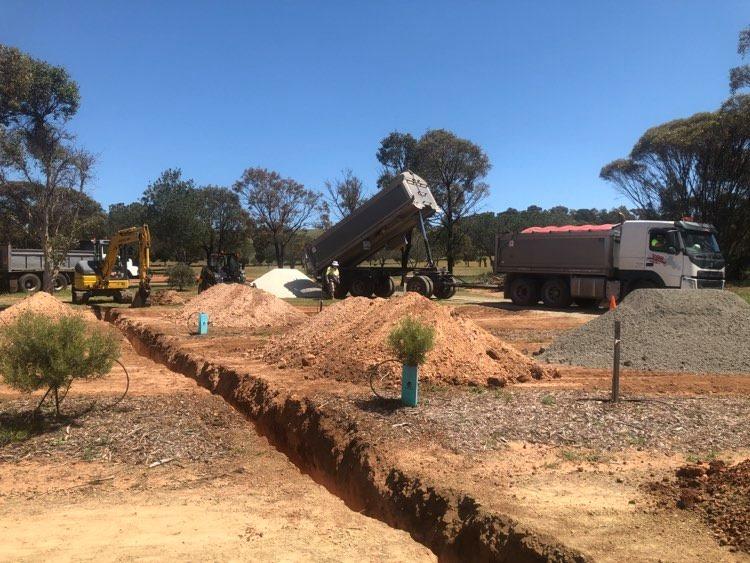 Craig Fenton Contracting preparing 4 new Powered Sites at Eudunda Caravan Park - Oct 2020
