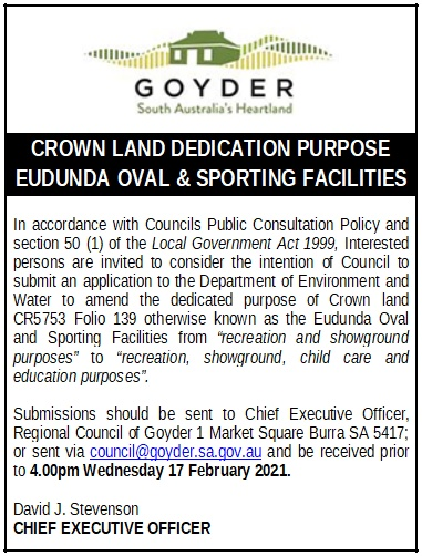 Crown Land Dedication Purpose – Eudunda Oval & Sporting Facilities – Council Notice
