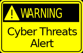 Cyber Threats Alert Warning Sign