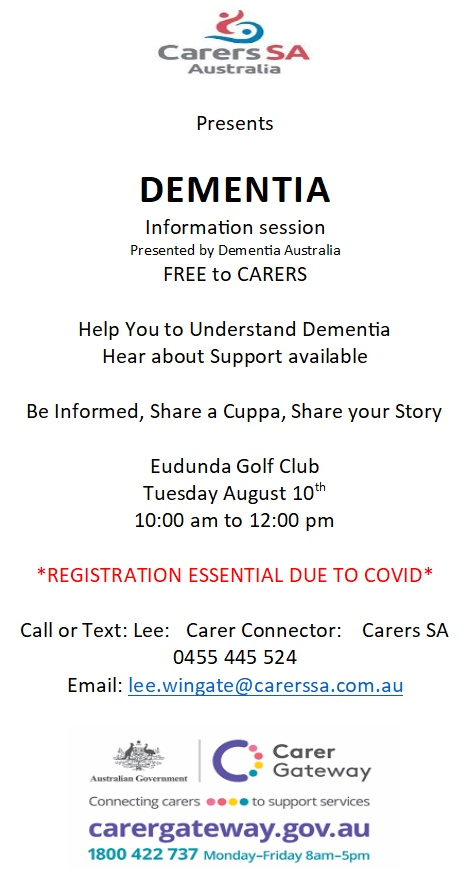 Dementia Information Session FREE to Carers on Tuesday August 10th 2021