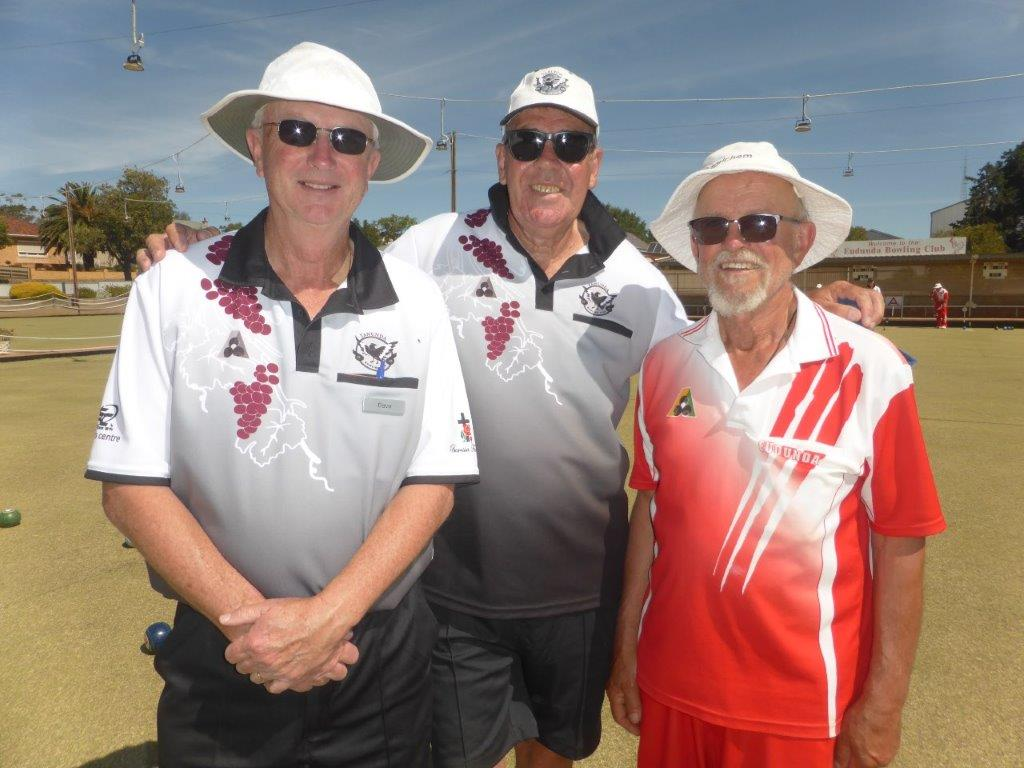 Eudunda Bowling Club - A Rare Feat as Dave Martin, Kevin Renshaw and Ted Schiller whose bowls were the three equal resting touchers on the jack