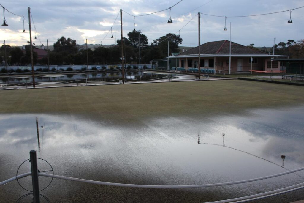 Eudunda Bowling Club - several hrs after flood by Peter Herriman