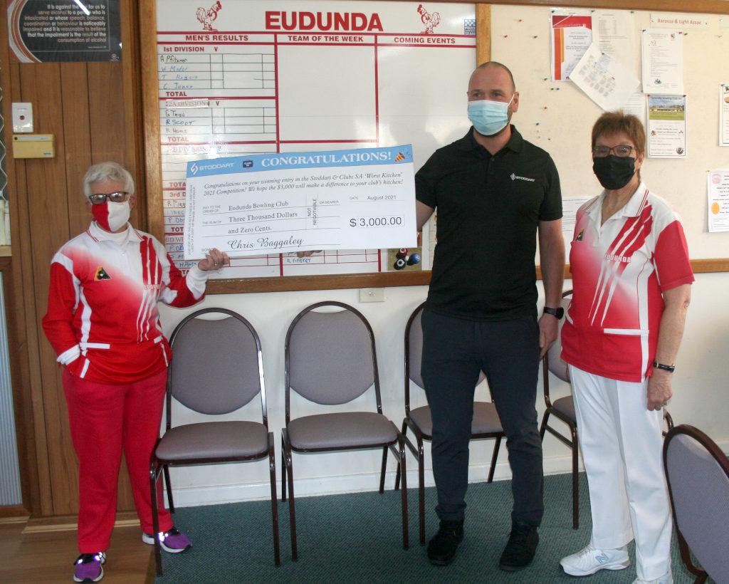 Eudunda Bowls Club - Win Worst Kitchen Award - L-R: Ruth Scoot, Chris Baggaley and Judy Milde