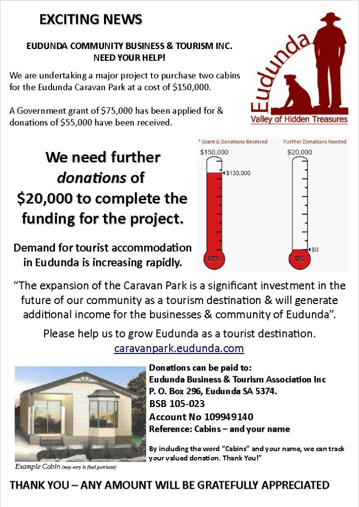 Eudunda Caravan Park - Cabins Appeal - Donation Request Flyer