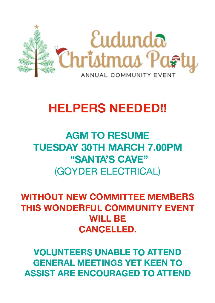 Eudunda Christmas Party Needs Your Support – AGM 30th March 2021