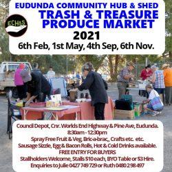 Hub & Shed Market, Trash & Treasure – Saturday 6th Nov 2021