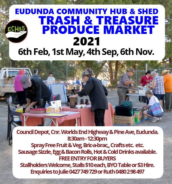 This Saturday – Hub & Shed Market – Trash & Treasure – 6th Feb 2021