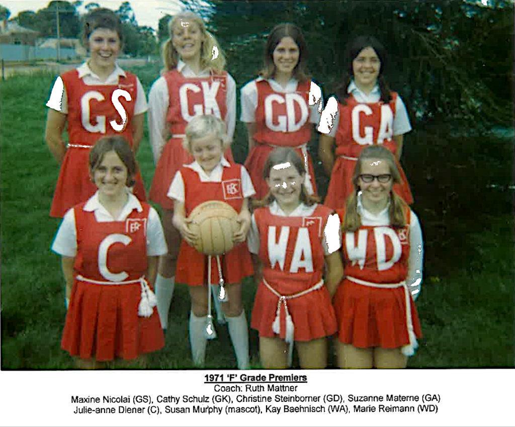 Eudunda Netball Club F Grade Premiers 1971