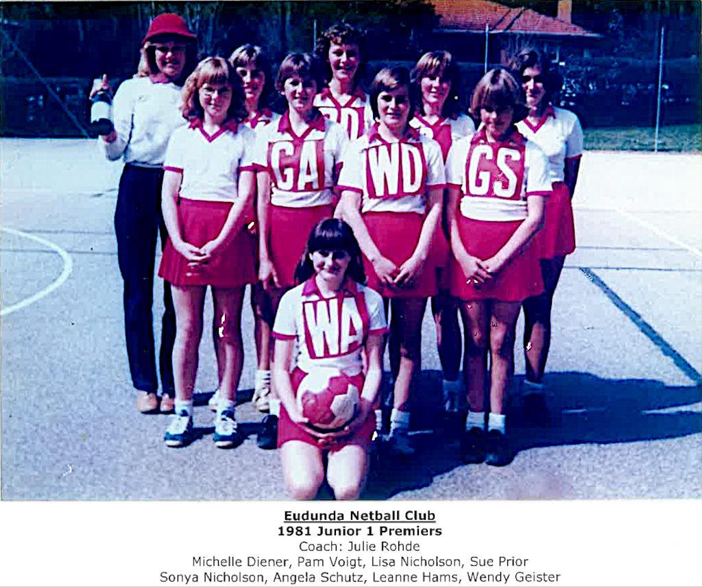 Eudunda Netball Club Junior 1 Premiers 1981