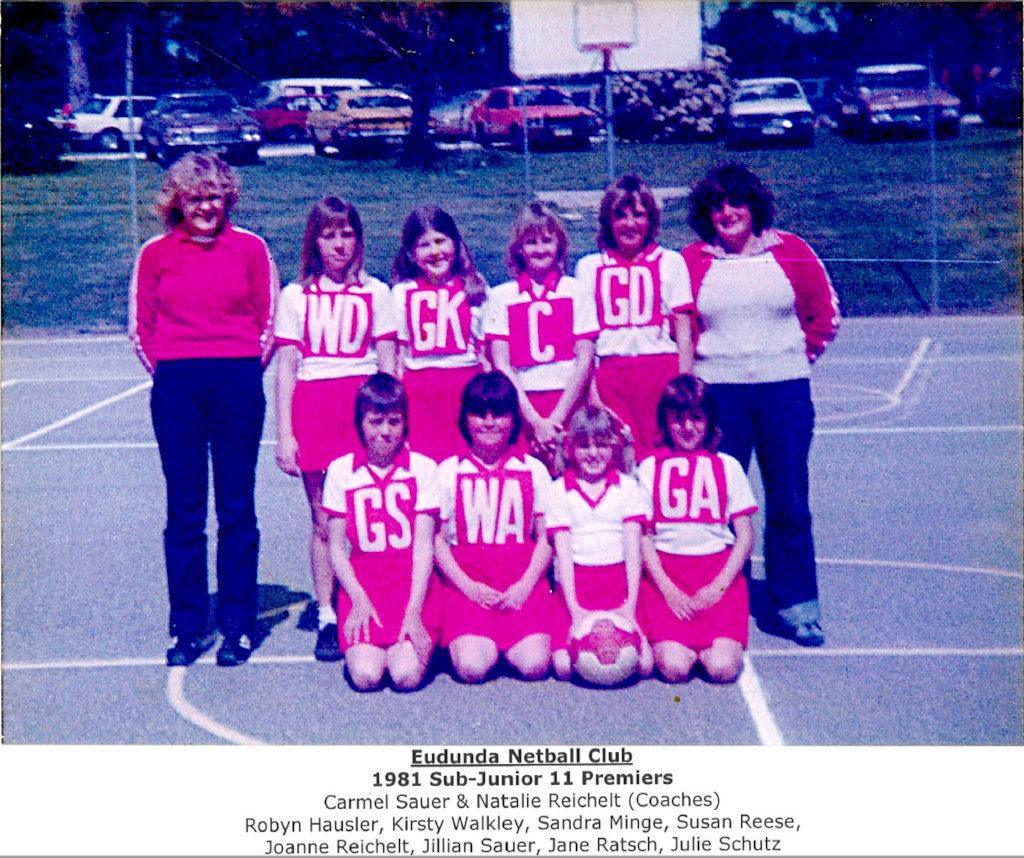 Eudunda Netball Club Sub Junior 11 Premiers 1981