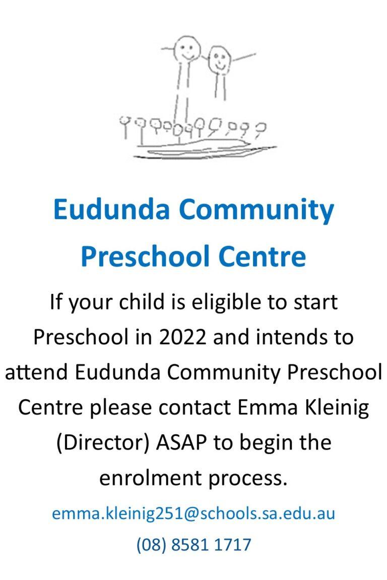 Enrol Now For Eudunda Preschool In 2022