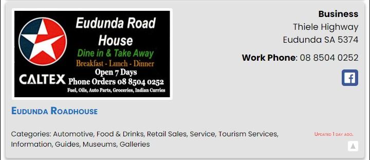 Eudunda Roadhouse - ECBAT Business Member