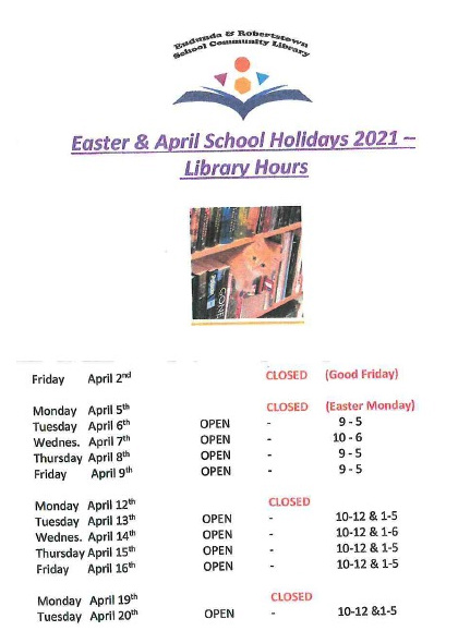 Eudunda School Community Library - April 2021 School Holiday Times
